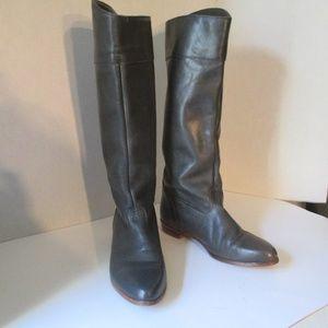 Frye Riding Boots 6M stacked heel gunmetal black